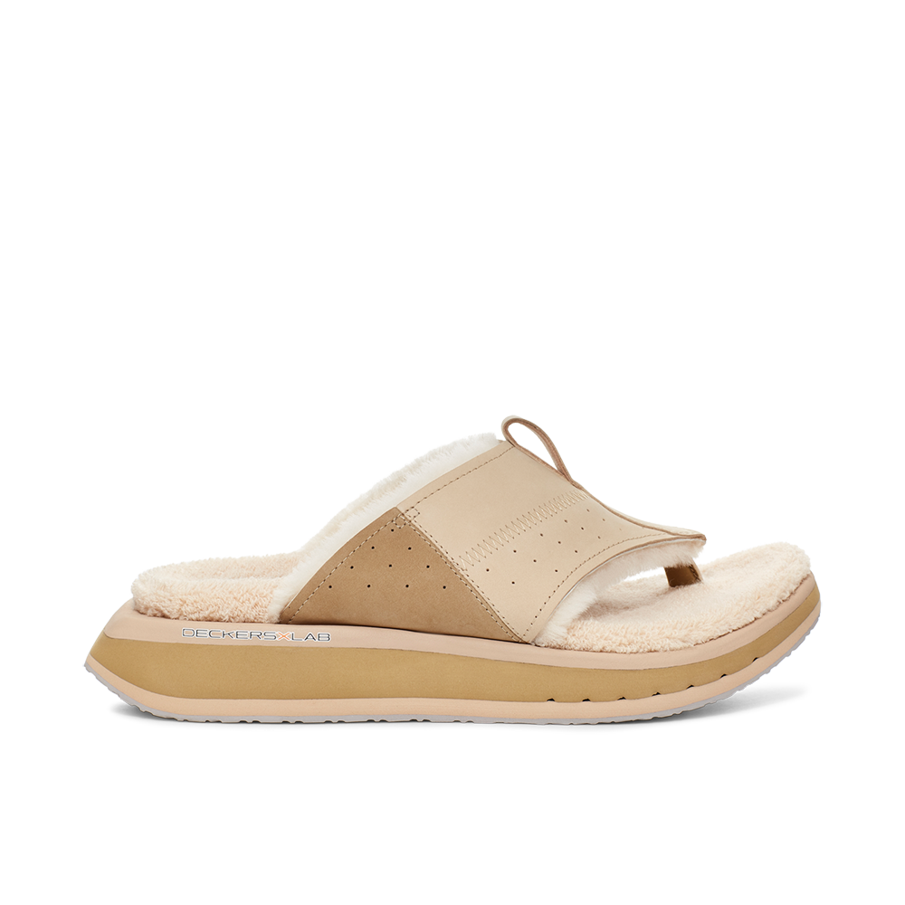 Men's KO-Z EVRST tan three point shearling flip flop slipper with memory foam, perforated leather and looped recycled wool top sole lateral view