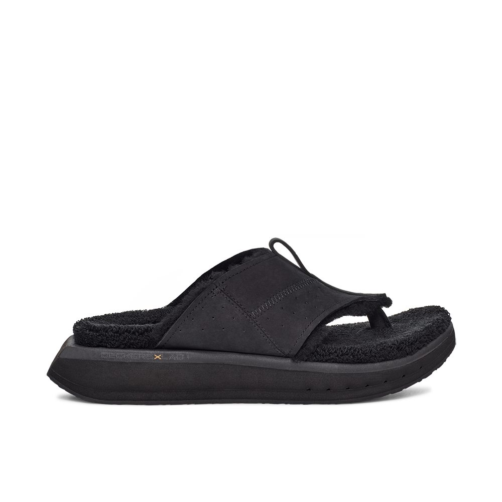 Men's KO-Z EVRST black three point shearling flip flop slipper with memory foam, perforated leather and looped recycled wool top sole lateral view