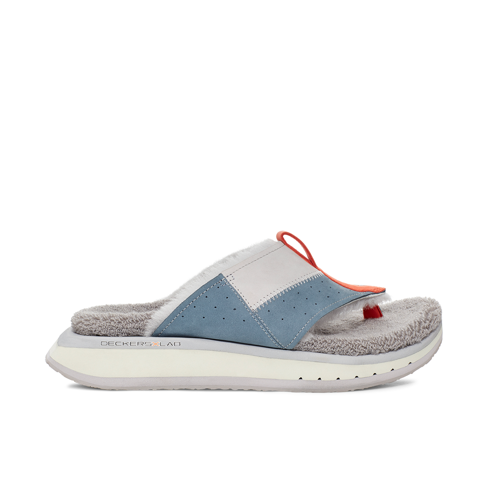 Men's KO-Z EVRST blue and orange three point shearling flip flop slipper with memory foam, perforated leather and looped recycled wool top sole lateral view