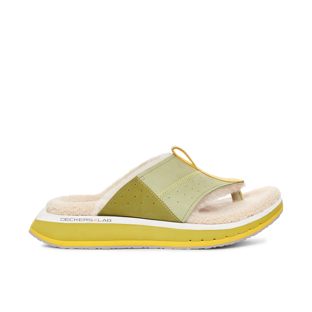 Men's KO-Z EVRST green and yellow three point shearling flip flop slipper with memory foam, perforated leather and looped recycled wool top sole lateral view