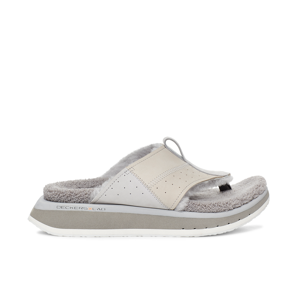 Men's KO-Z EVRST grey three point shearling flip flop slipper with memory foam, perforated leather and looped recycled wool top sole lateral view