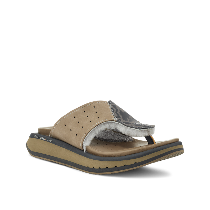 Men's KO-Z GLDTR 3 tan and grey three point shearling flip flop slipper with  memory foam, perforated leather and looped recycled wool top sole  lateral view
