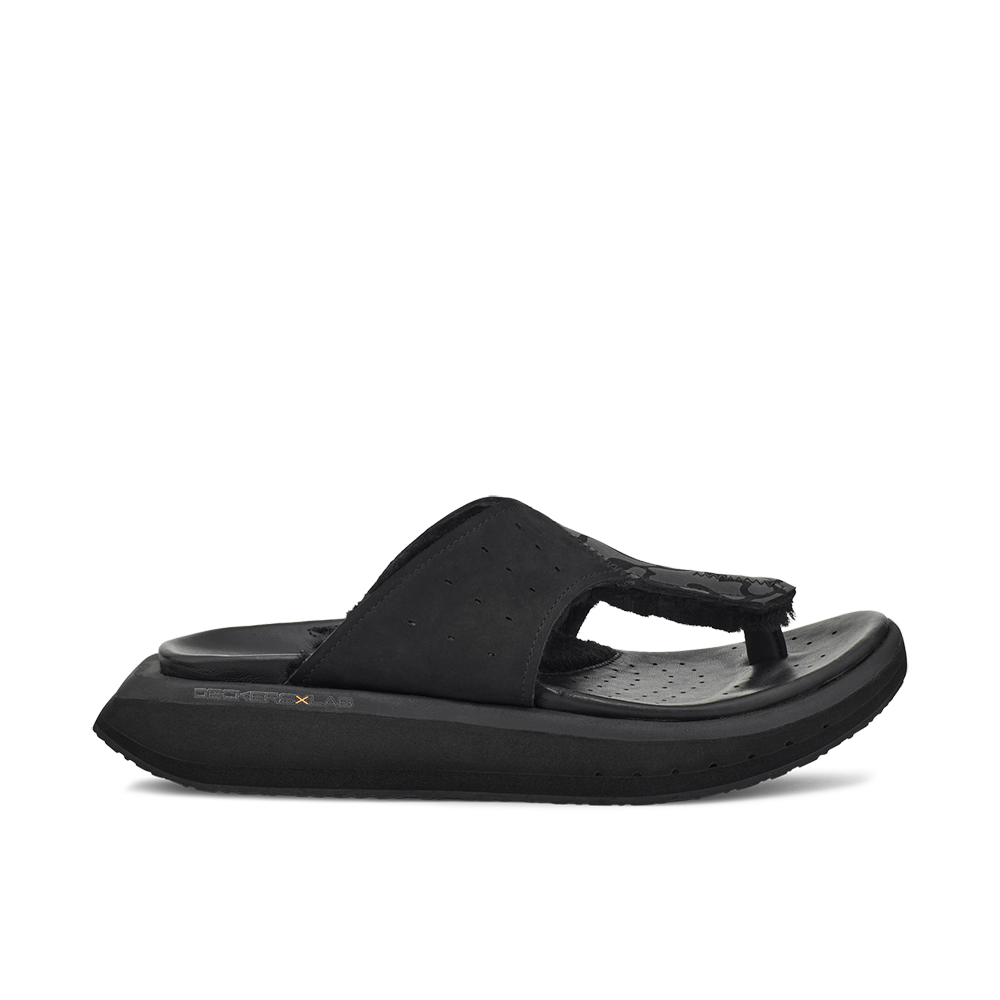 Men's KO-Z GLDTR 3 black and dark grey three point shearling flip flop slipper with  memory foam, perforated leather and looped recycled wool top sole lateral view