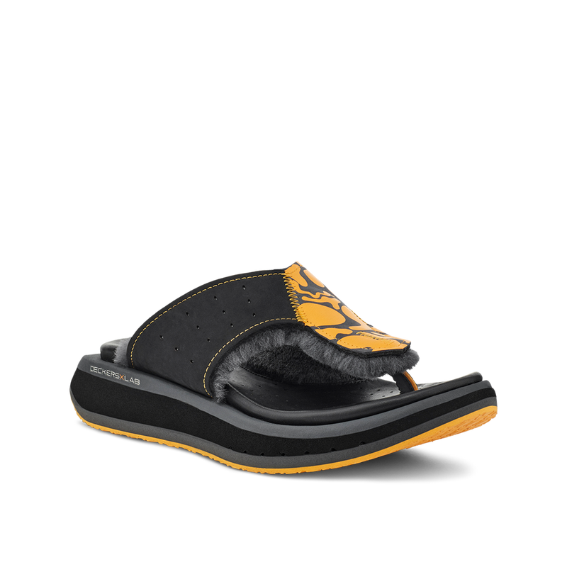 Men's KO-Z GLDTR 3 black and orange three point shearling flip flop slipper with  memory foam, perforated leather and looped recycled wool top sole lateral view