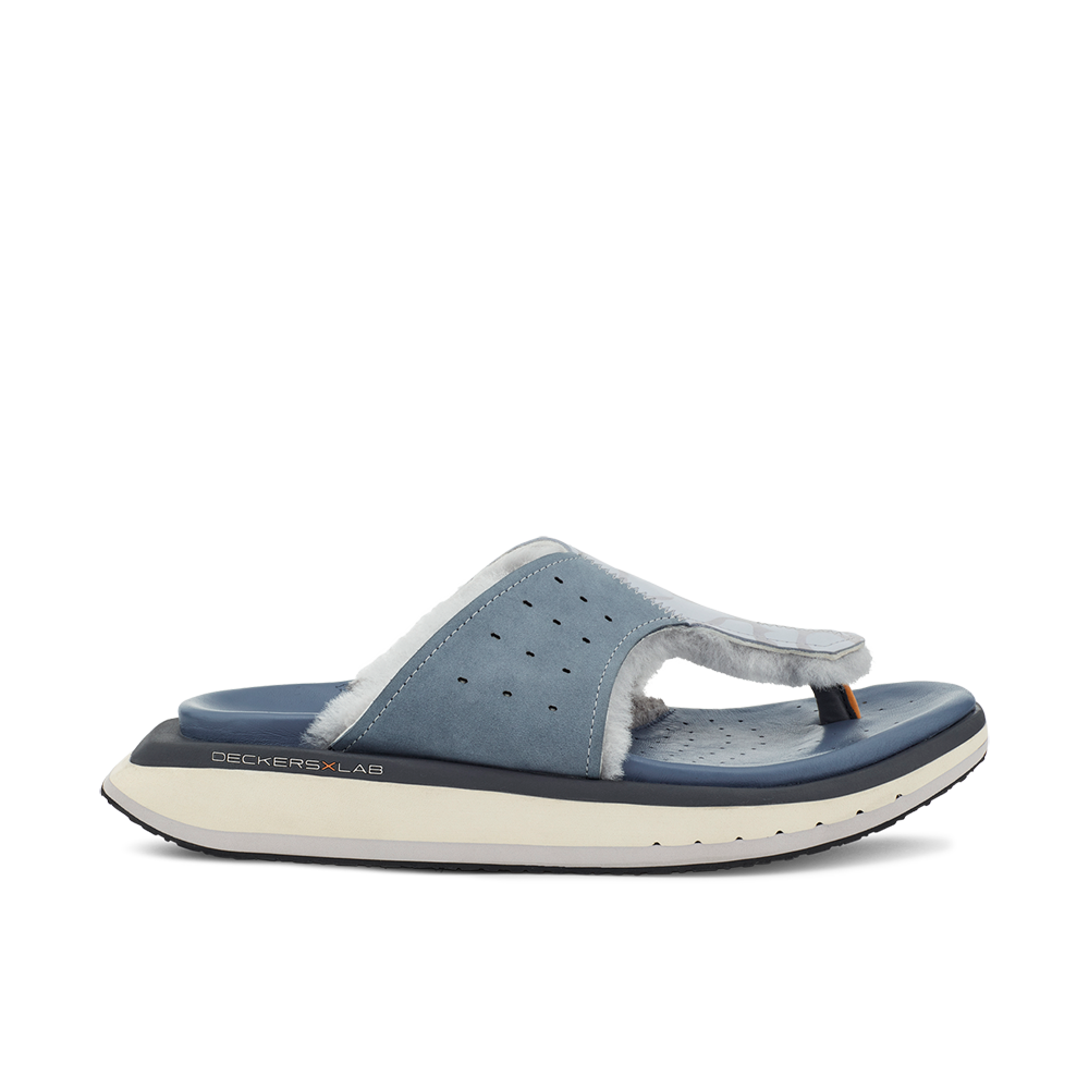 Men's KO-Z GLDTR 3 blue and grey three point shearling flip flop slipper with memory foam, perforated leather and looped recycled wool top sole side view