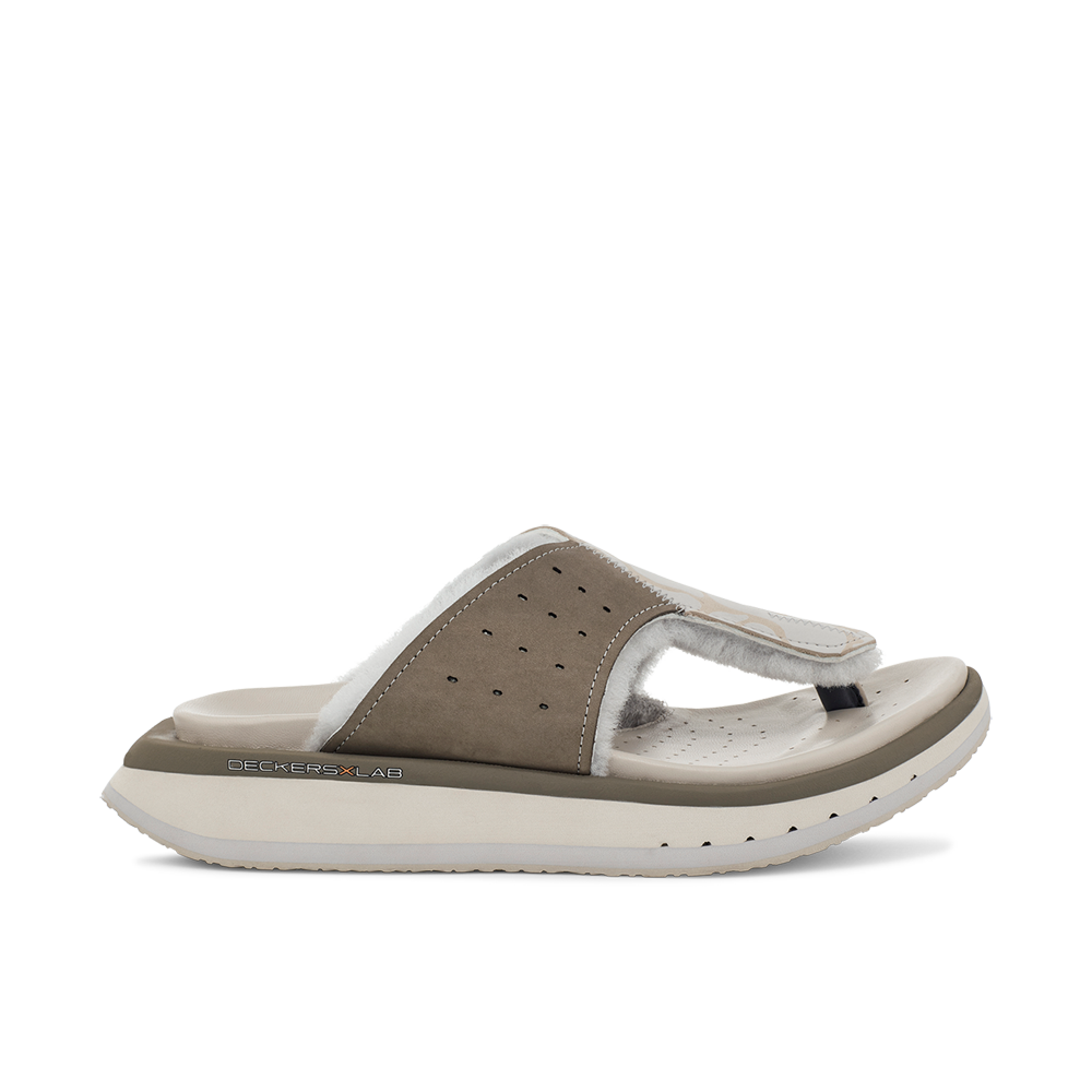 Men's KO-Z GLDTR 3  grey three point shearling flip flop slipper with memory foam, perforated leather and looped recycled wool top sole lateral view