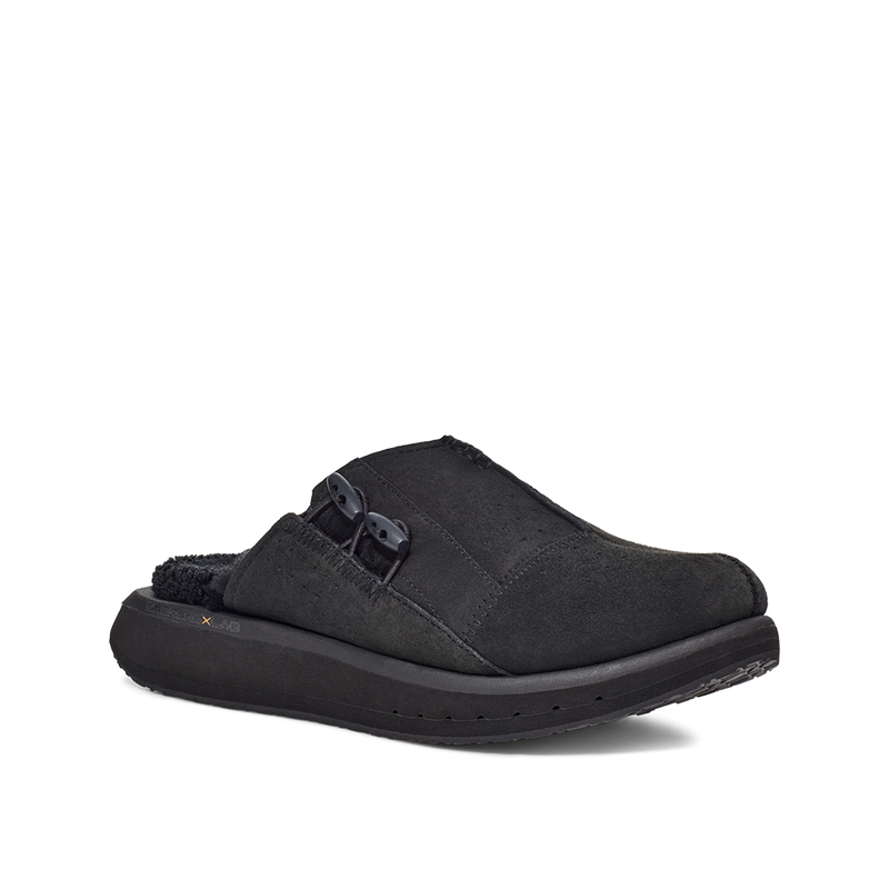 Men's KO-Z MULE black shearling backless clogs with memory foam, perforated leather and looped recycled wool top sole lateral view