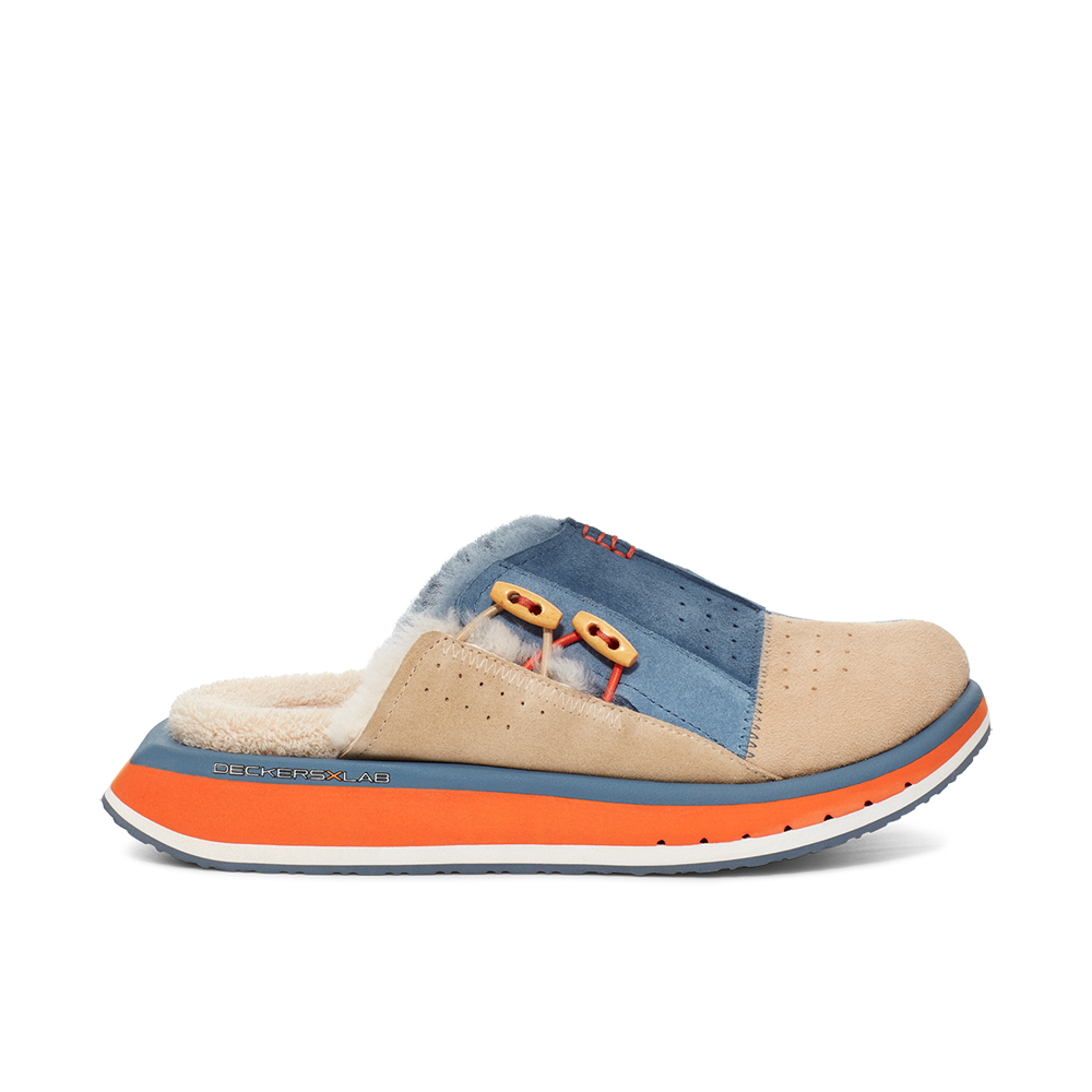 Men's KO-Z MULE blue and orange shearling backless clogs with memory foam, perforated leather and looped recycled wool top sole lateral view