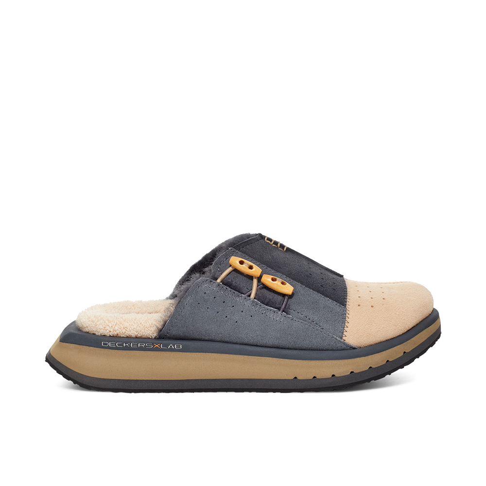 Men's KO-Z MULE grey and tan shearling backless clogs with memory foam, perforated leather and looped recycled wool top sole lateral view
