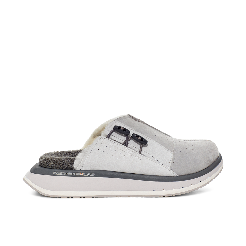 Men's KO-Z MULE grey shearling backless clogs with memory foam, perforated leather and looped recycled wool top sole lateral view