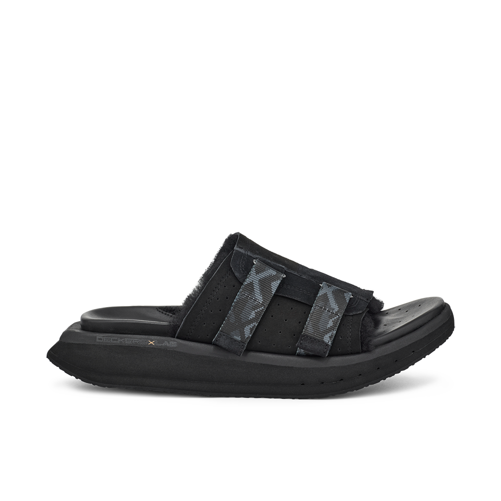 Men's KO-Z Slide black shearling slipper with recycled polyester straps memory foam footbed and soft wool arch support lateral view