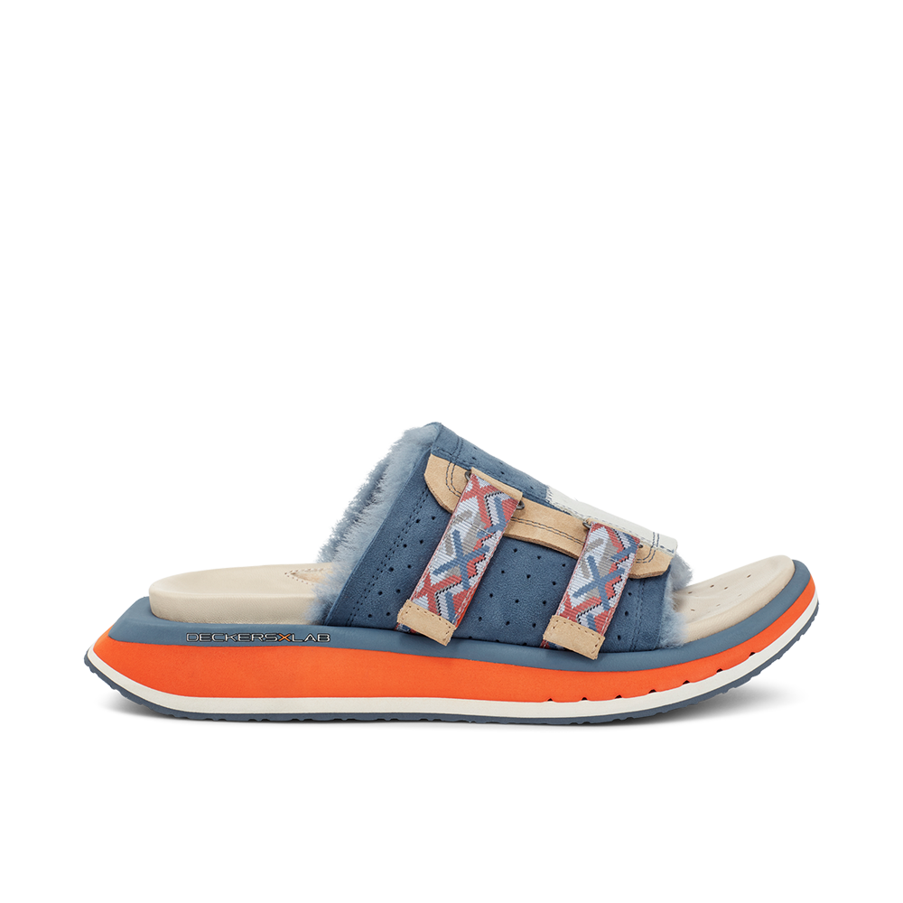 Men's KO-Z Slide blue orange and tan shearling slipper with recycled polyester straps memory foam footbed and soft wool arch support lateral view