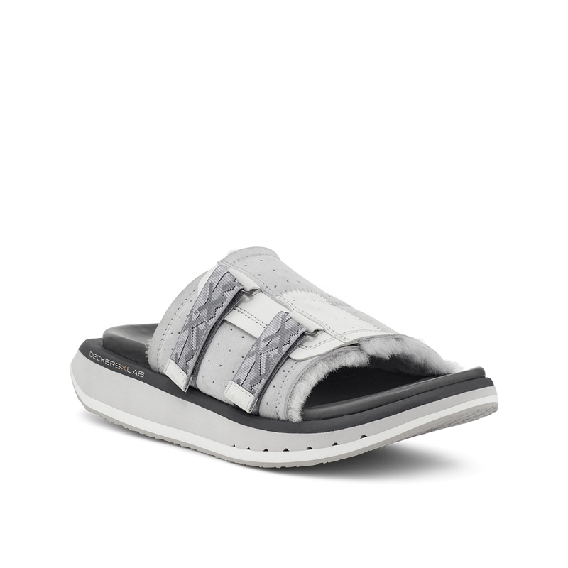 KO-Z Slide grey shearling slipper with recycled polyester straps memory foam footbed and soft wool arch support lateral view