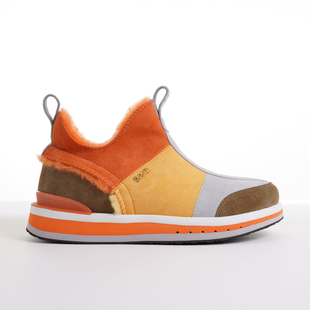 Men's KO-Z SNPR Mid Orange Yellow Brown Sheepskin slipper boot lateral view