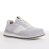 Men's KO-Z SPORT Low sheepskin lace up sneaker slipper white light grey angled lateral view