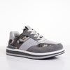 Men's KO-Z SPORT Low sheepskin lace up sneaker slipper light grey camo angled lateral view
