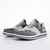 Men's KO-Z SPORT Low sheepskin lace up sneaker slipper light grey camo pair toes pointed to the left