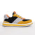 Men's KO-Z SPORT Low sheepskin lace up sneaker slipper yellow black light grey white lateral view