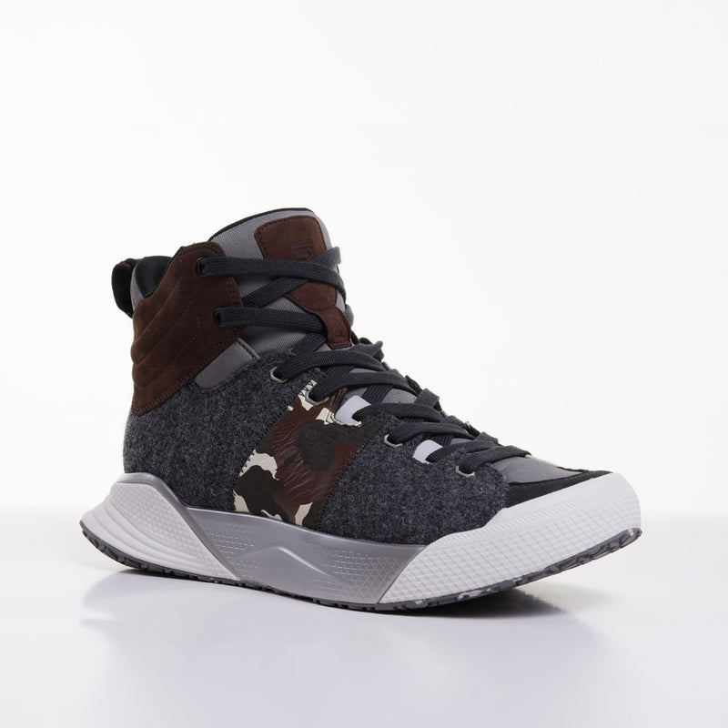 Men's X-SCAPE Mid grey brown camo sliver white suede lycra and wool walking sneaker lateral view