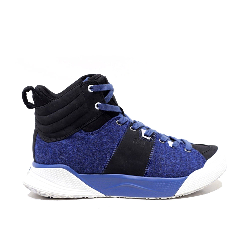 Men's X-SCAPE Mid  blue black white suede lycra and wool walking sneaker lateral view