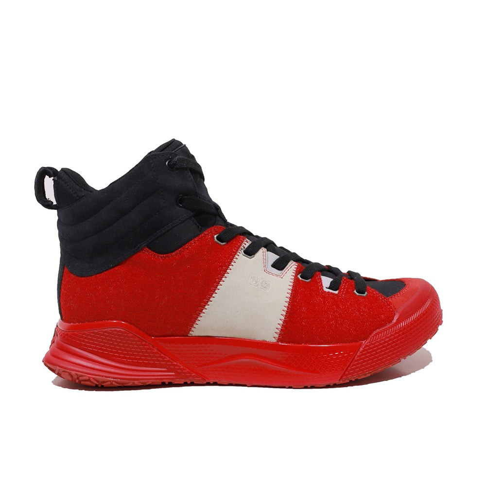 Men's X-SCAPE Mid red black white suede lycra and wool walking sneaker lateral view