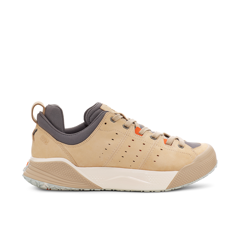 Women's X-SCAPE NBK Low tan grey orange white suede lycra and wool walking sneaker lateral view