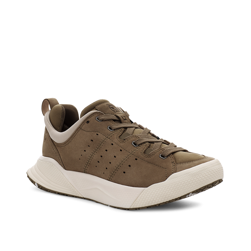 Men's X-SCAPE NBK Low suede, adjusting fit lycra and wool cushioned walking sneaker beige and white lateral view