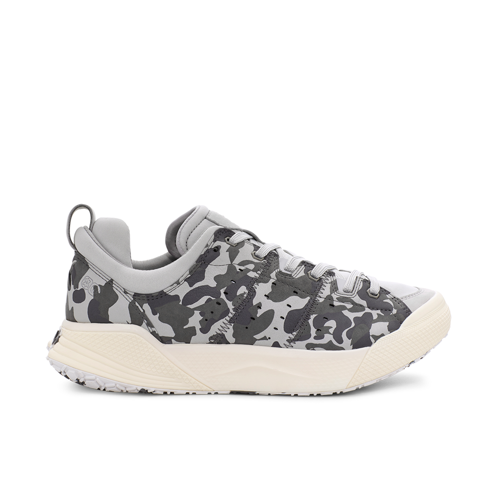 Men's X-SCAPE NBK Low grey and white camo suede lycra and wool walking sneaker lateral view