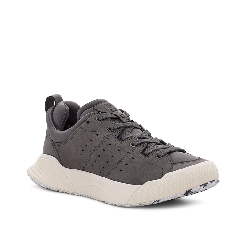 Men's X-SCAPE NBK Low grey and white suede, wool and lycra walking sneaker medial view