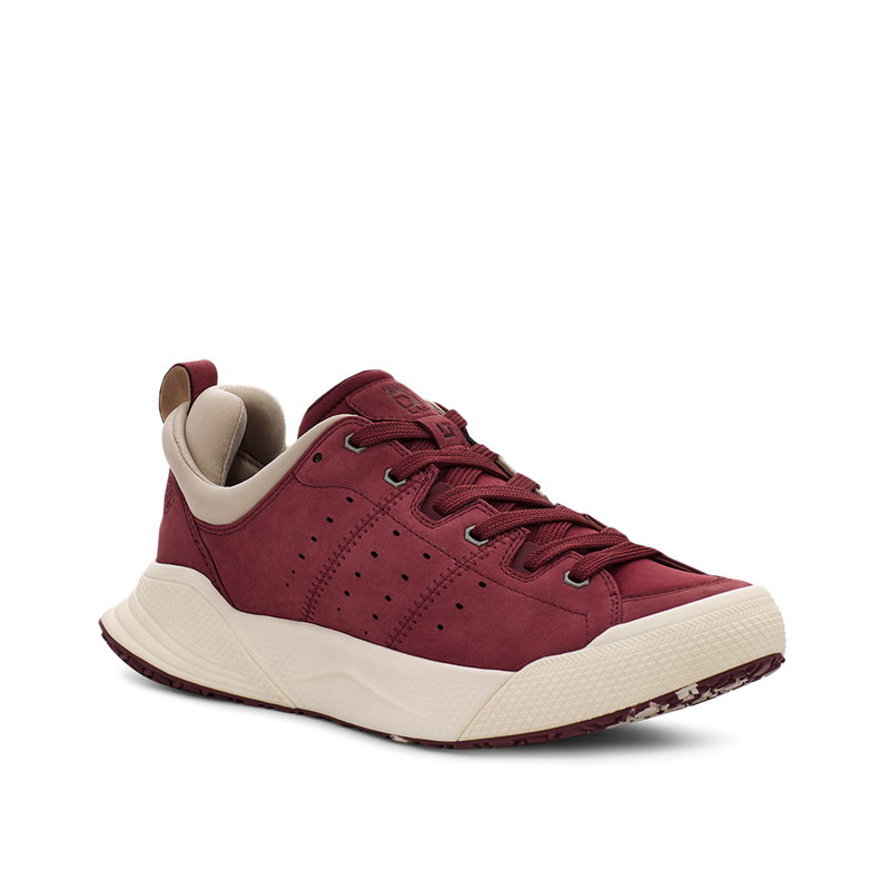 Men's X-SCAPE NBK Low dark brownish red white suede lycra and wool walking sneaker lateral view