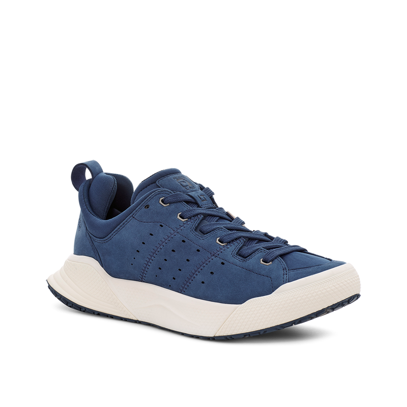 Men's X-SCAPE NBK Low navy blue white suede lycra and wool walking sneaker lateral view