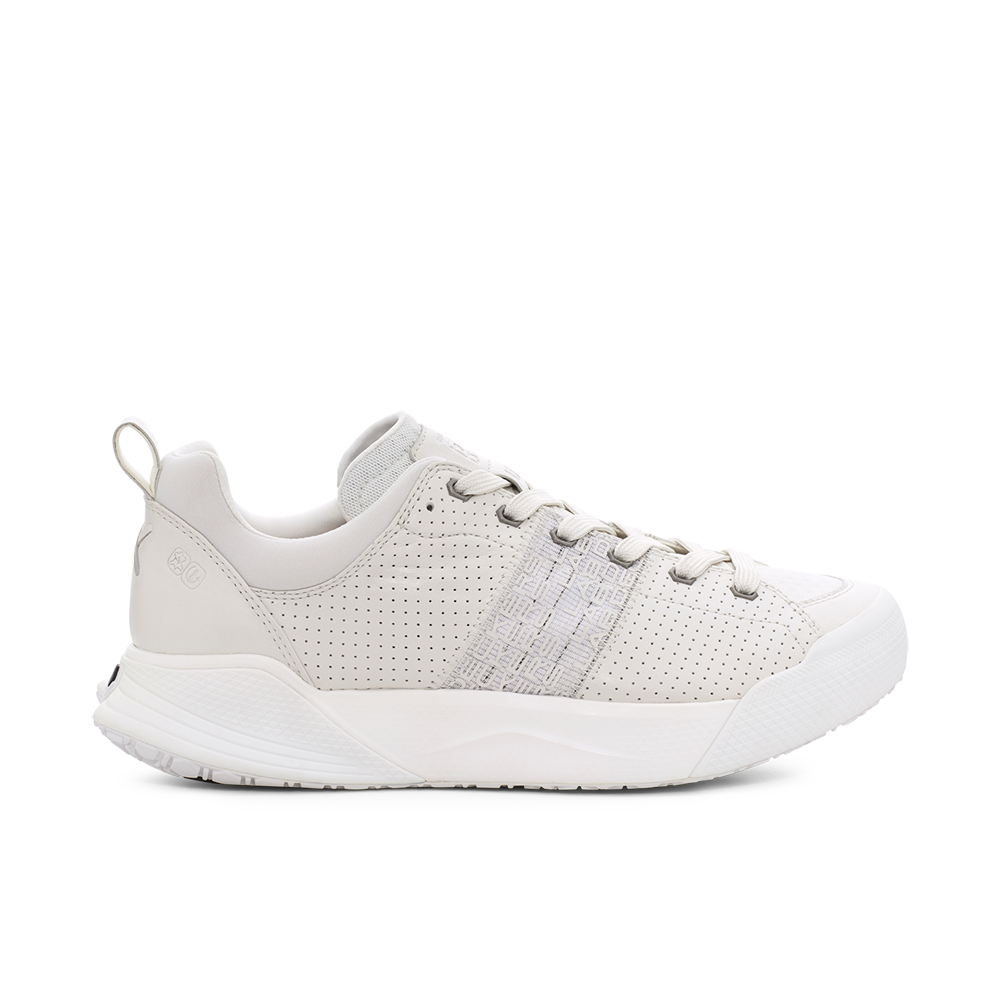 Men's X-SCAPE Sport breathable perforated suede, adjusting fit foam and Matryx cushioned walking sneaker white medial side view