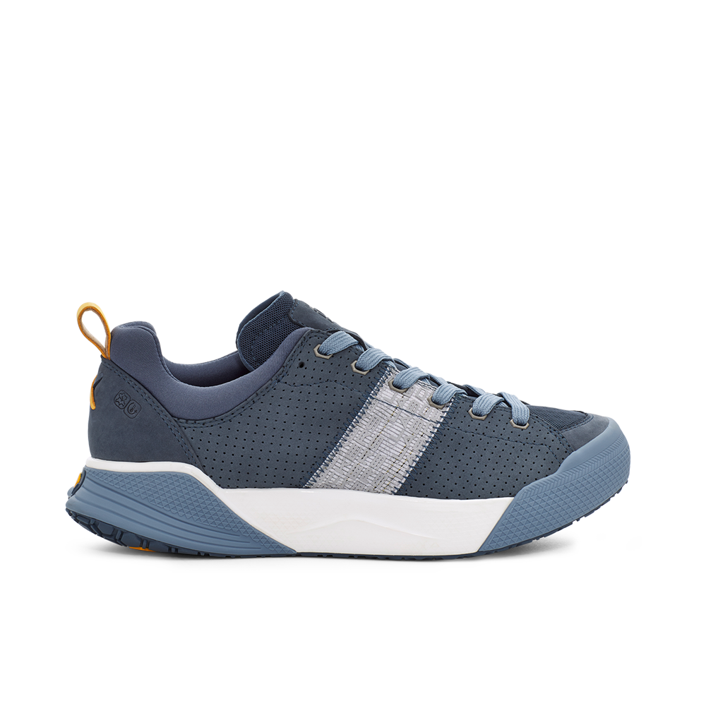 Men's X-SCAPE Sport breathable perforated suede, adjusting fit foam and hydrophobic Matryx, cushioned walking sneaker blue, white and yellow lateral view