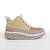 Women's KO-Z CHUKKA Wedge desert boot tan beige white sheepskin suede lateral side