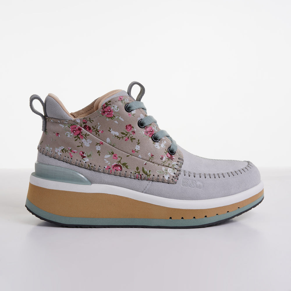 Women's KO-Z CHUKKA Wedge moss green tan floral light grey sheepskin suede desert boot lateral side