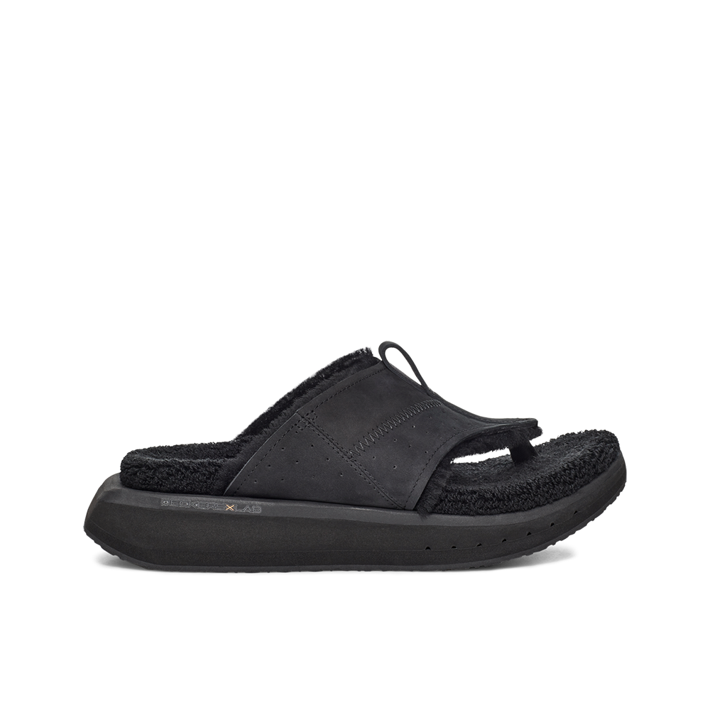 Women's KO-Z EVRST black three point shearling flip flop slipper with memory foam, perforated leather and looped recycled wool top sole lateral view