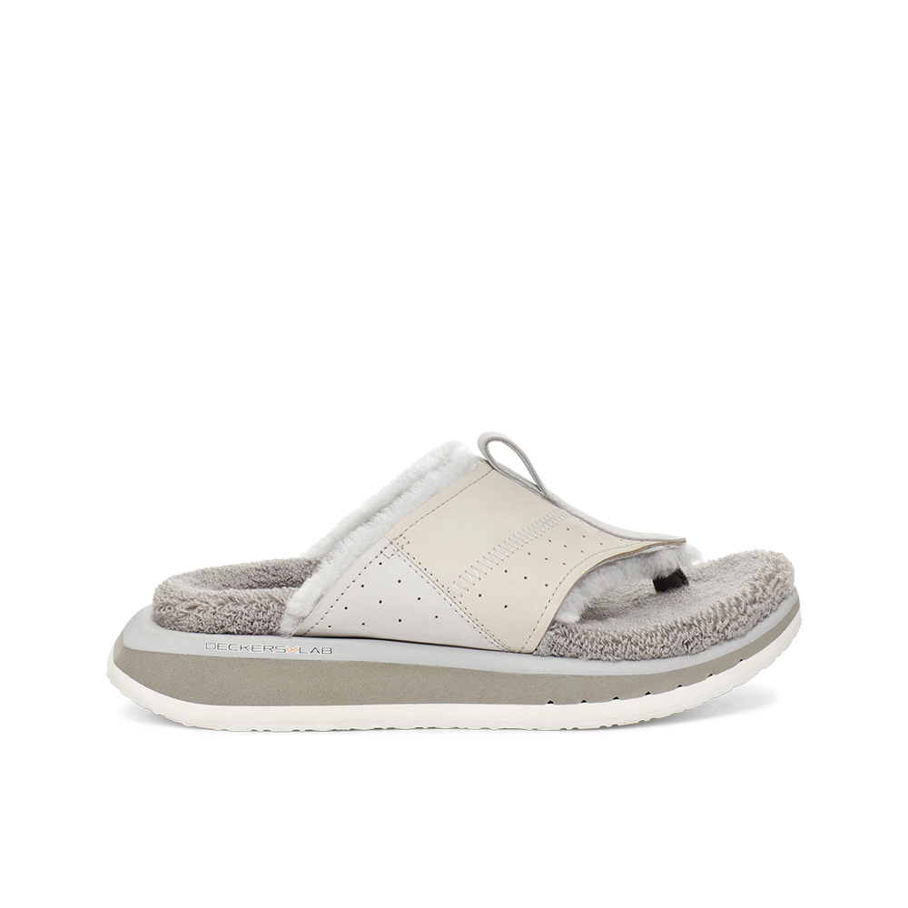 Women's KO-Z EVRST grey three point shearling flip flop slipper with memory foam, perforated leather and looped recycled wool top sole lateral view