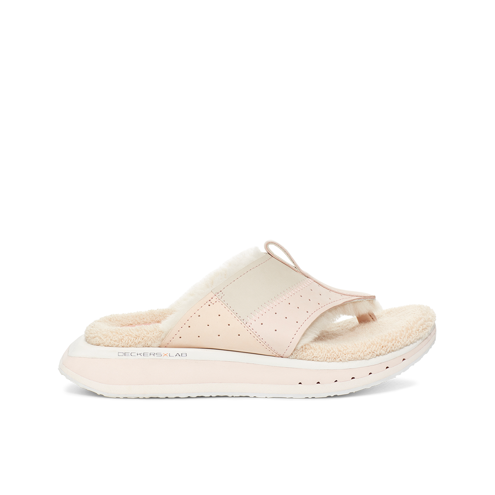 Women's KO-Z EVRST pink three point shearling flip flop slipper with memory foam, perforated leather and looped recycled wool top sole lateral view