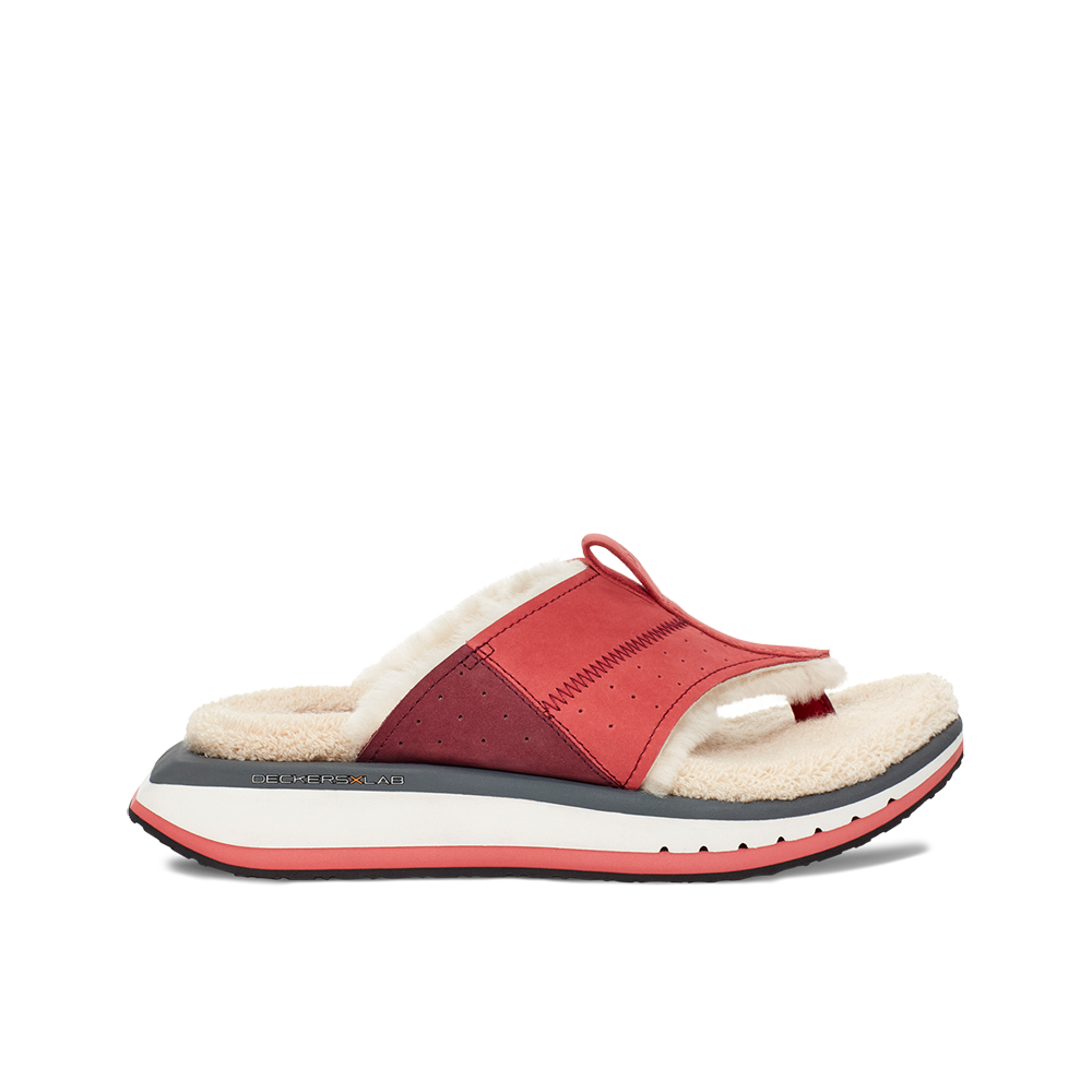 Women's KO-Z EVRST red and white three point shearling flip flop slipper with memory foam, perforated leather and looped recycled wool top sole lateral view