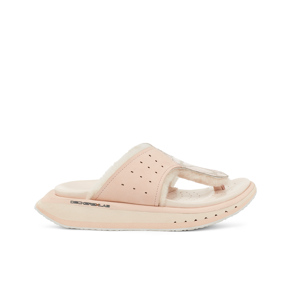 Women's KO-Z GLDTR 3 pink shearling slipper with recycled polyester straps memory foam footbed and soft wool arch support lateral view