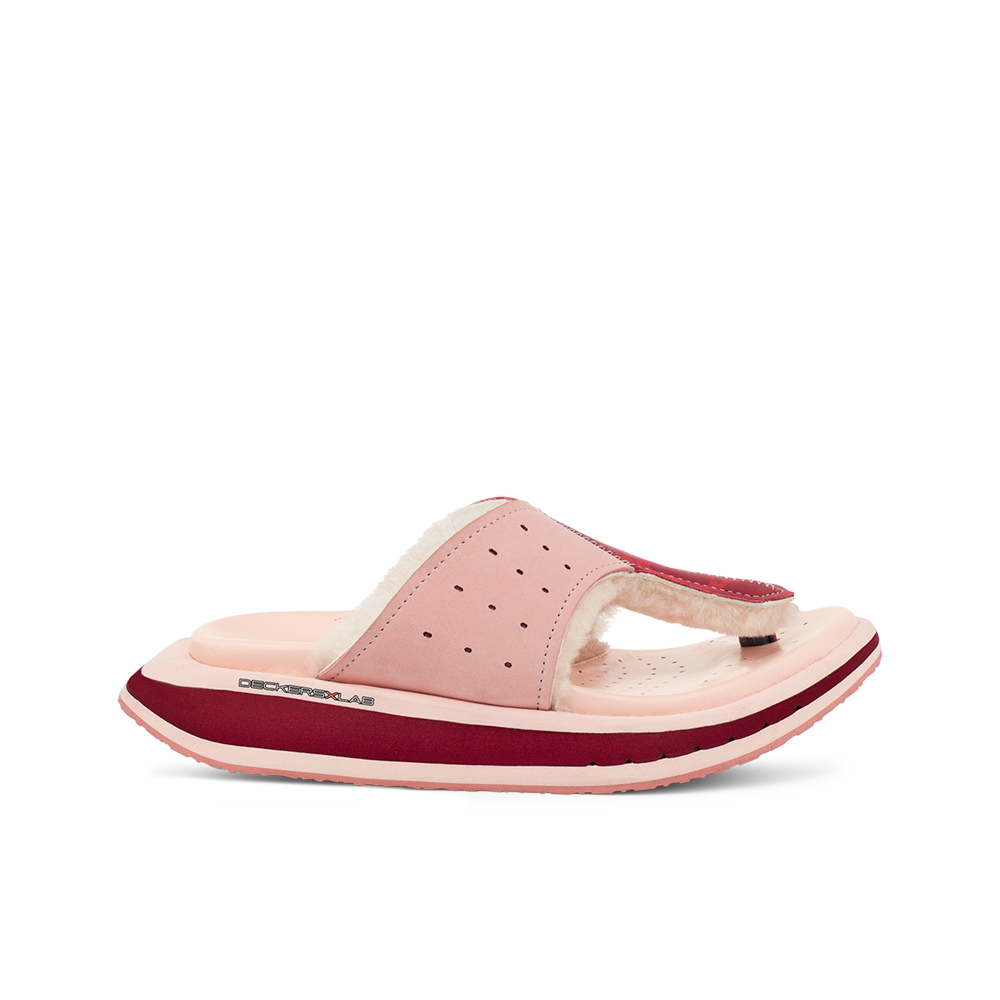 Women's KO-Z GLDTR 3 pink red shearling slipper with recycled polyester straps memory foam footbed and soft wool arch support lateral view