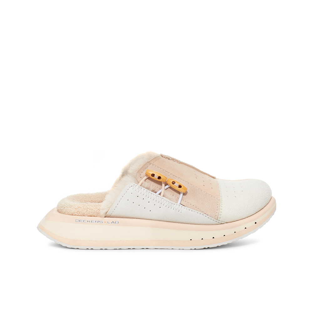 Women's KO-Z MULE pink and white shearling backless clogs with memory foam, perforated leather and looped recycled wool top sole lateral view