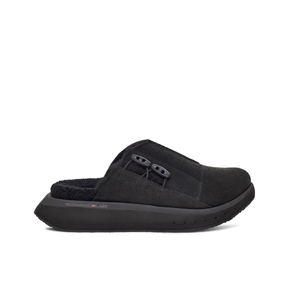 Women's KO-Z MULE black shearling backless clogs with memory foam, perforated leather and looped recycled wool top sole lateral view