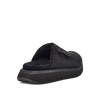 Women's KO-Z MULE black shearling backless clogs with memory foam, perforated leather and looped recycled wool top sole rear view