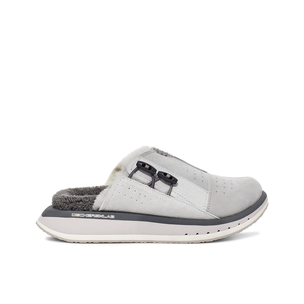Women's KO-Z MULE grey shearling backless clogs with memory foam, perforated leather and looped recycled wool top sole lateral view