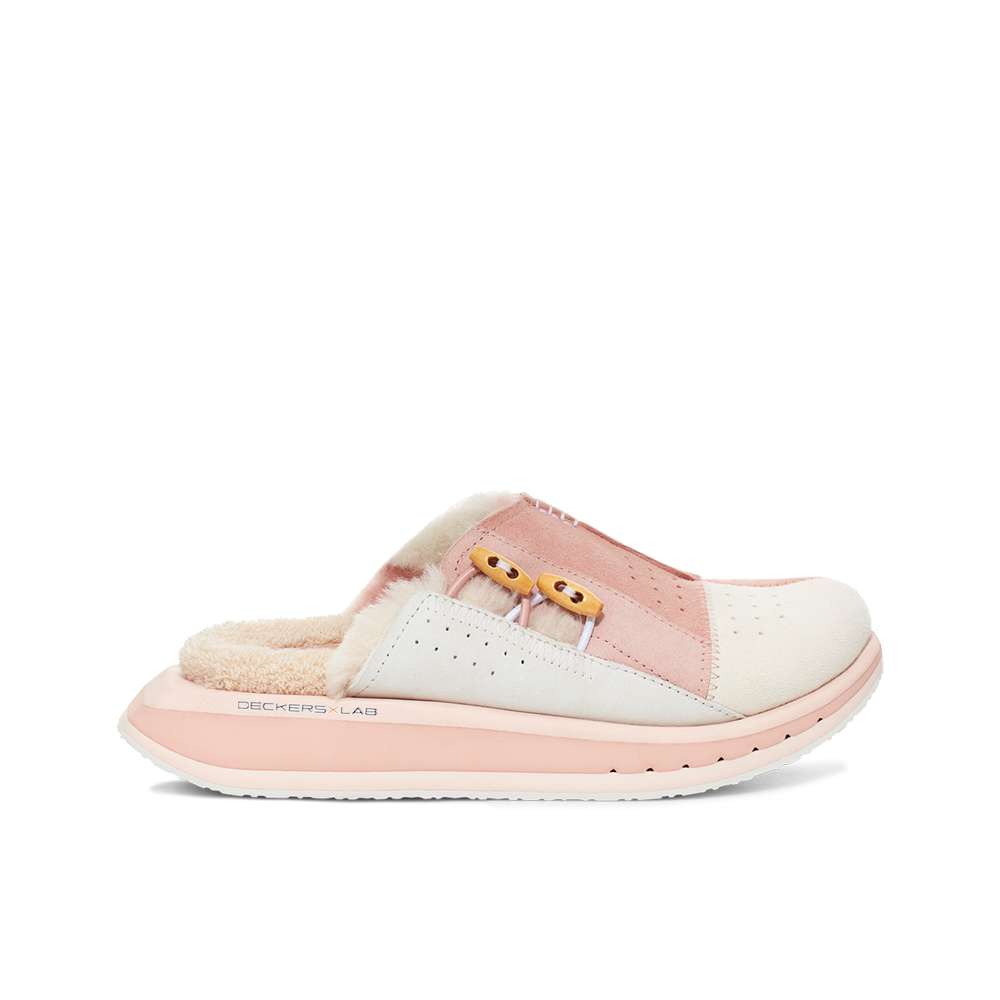 Women's KO-Z MULE pink shearling backless clogs with memory foam, perforated leather and looped recycled wool top sole lateral view