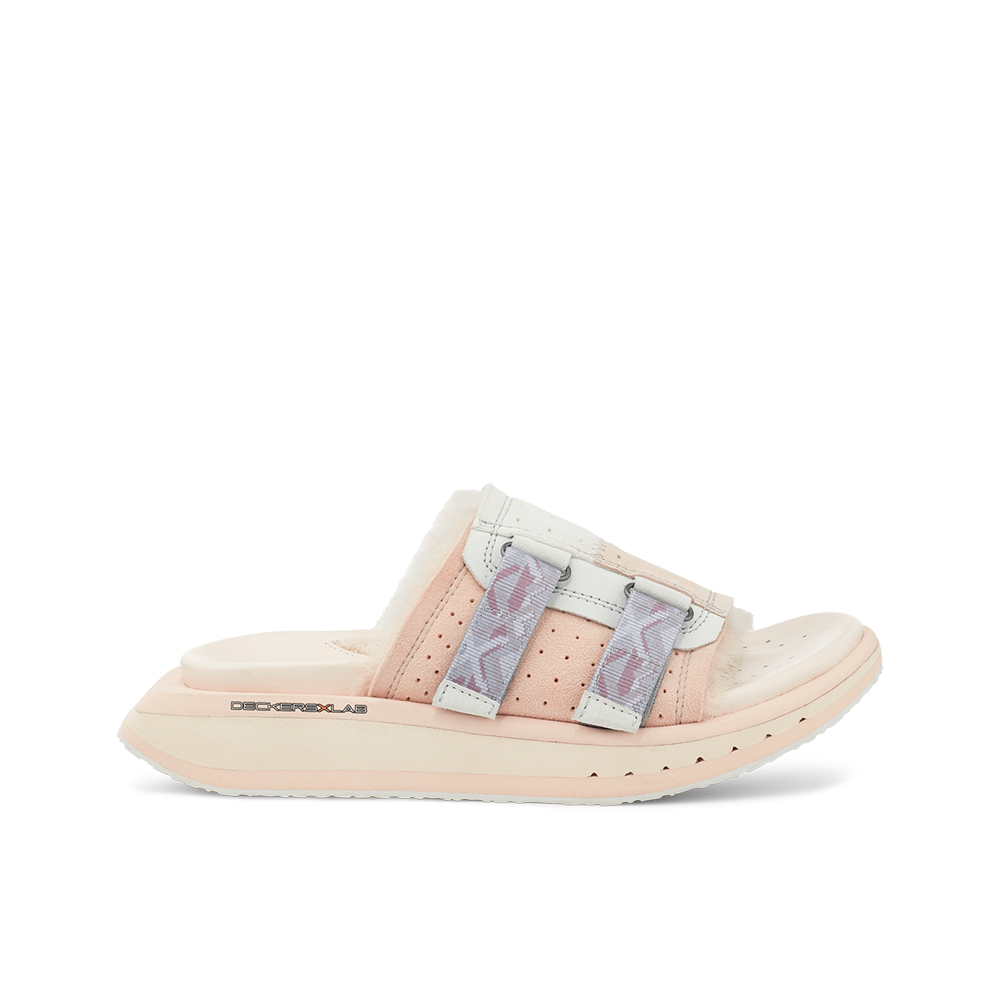 Women's KO-Z Slide Pink shearling slipper with recycled polyester straps memory foam footbed and soft wool arch support lateral view