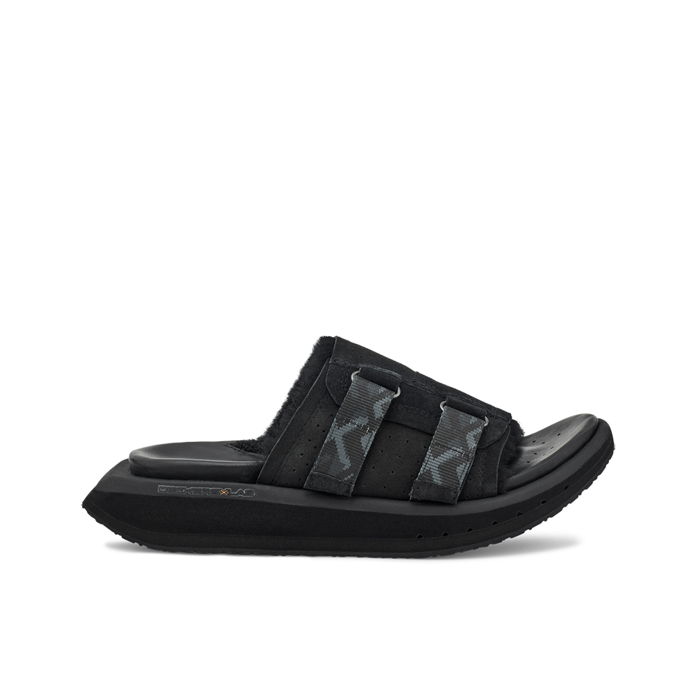 Women's KO-Z Slide black shearling slipper with recycled polyester straps memory foam footbed and soft wool arch support lateral view