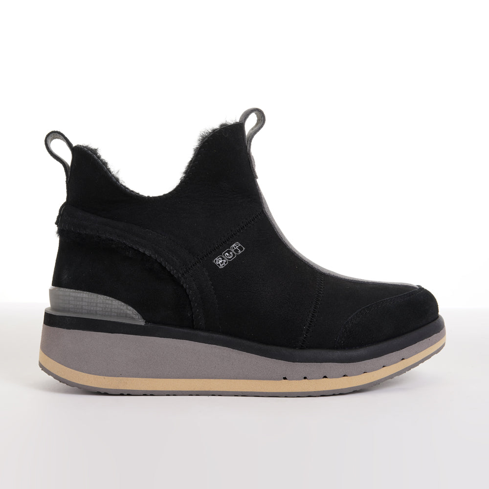 Women's KO-Z SNPR Mid Wedge black grey tan sheepskin slipper lateral view