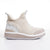 Women's KO-Z SNPR Mid Wedge white cream tan sheepskin slipper lateral view